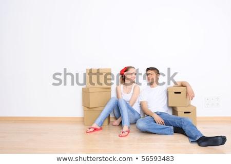 fiatal · nő · mozog · új · otthon · nő · ház · személy - stock fotó © hasloo