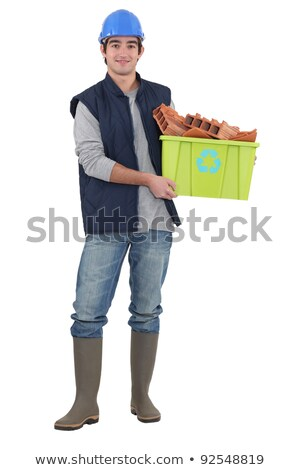 builder stood with box of recyclable material stock photo © photography33