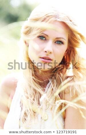 güzel · boncuk · portre · genç · sarışın · kadın - stok fotoğraf © zastavkin