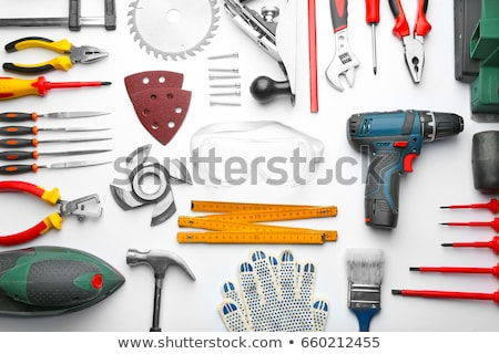 Artesão chave inglesa azul trabalhando capacete masculino Foto stock © photography33