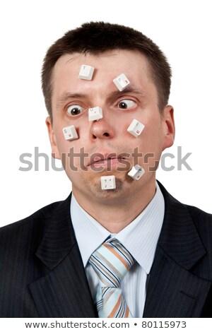 Parola stupido pulsanti faccia imprenditore bianco Foto d'archivio © RuslanOmega