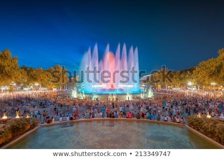 mágikus · szökőkút · Barcelona · éjszaka · zene · fény - stock fotó © vladacanon