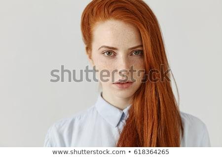 vermelho · mulher · cara · retrato · olhando · para · baixo - foto stock © gromovataya