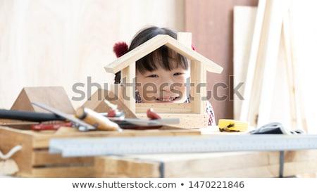 Ragazzi artigiano workshop ragazza legno lavoro Foto d'archivio © photography33
