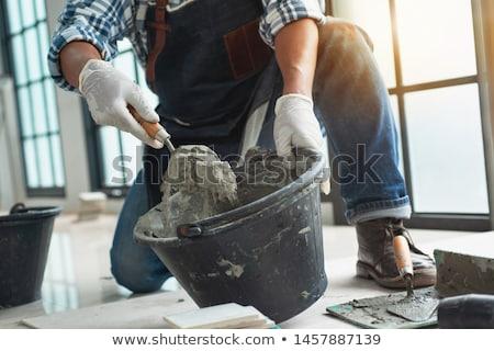 concretas · mano · edificio · construcción · pared · trabajo - foto stock © photography33