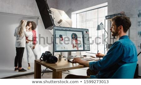 vrouw · lippenstift · lippen · natuurschoon · brunette - stockfoto © photography33