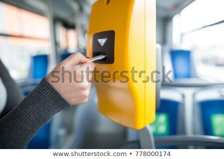 Człowiek tramwaj bilety portret wnętrza bilet Zdjęcia stock © photography33