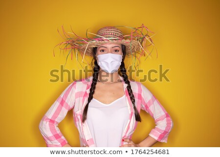 Young woman call to dance in traditional clothes Stock photo © vetdoctor
