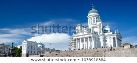 Helsinki katedral sütunlar beyaz Finlandiya mavi gökyüzü Stok fotoğraf © kyolshin