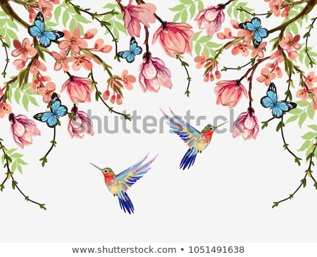 Blooming Tree with Hummingbirds stock photo © kittasgraphics