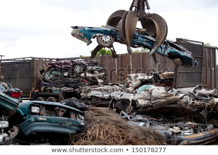 Stacked crushed cars being recycled Stock photo © zzve