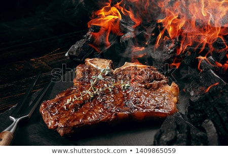ızgara plaka görüntü et barbekü Stok fotoğraf © stevanovicigor
