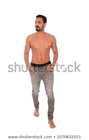 Foto stock: Topless · homem · mãos · moço · posando · olhando
