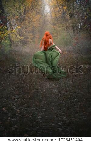 Piros boszorkány szexi vörös haj tart edény Stock fotó © oksanika