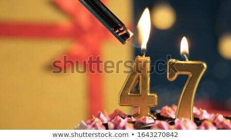Brandend aantal hout teken kalender Stockfoto © Zerbor