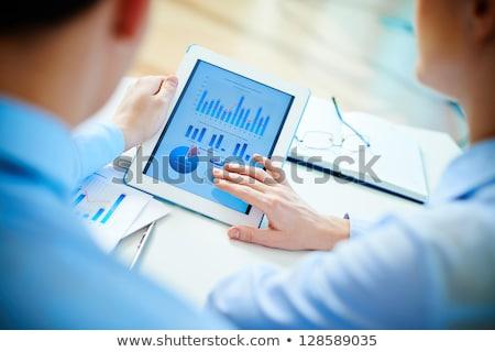 Stock fotó: Digitális · tabletta · mutat · táblázatok · modern · munkahely