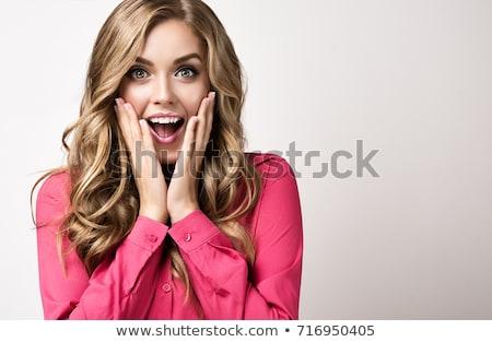 Mujer de negocios sorprendido mano mejilla caucásico Foto stock © bmonteny