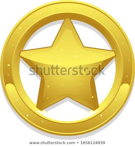 Insigne star banner kan eigen Stockfoto © oblachko