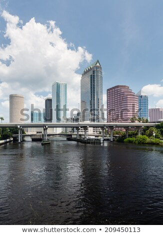 Városkép Florida nap sziluett illemszabály központ Stock fotó © backyardproductions