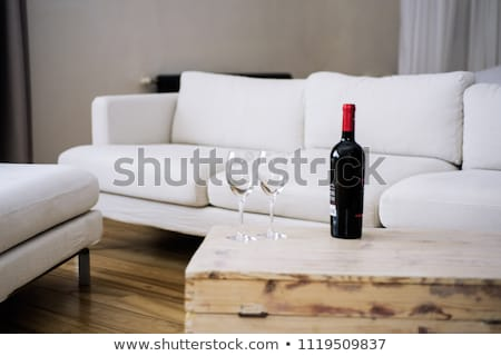 Woman in Bath Towel Drinking Glass of Red Wine Stock photo © dash