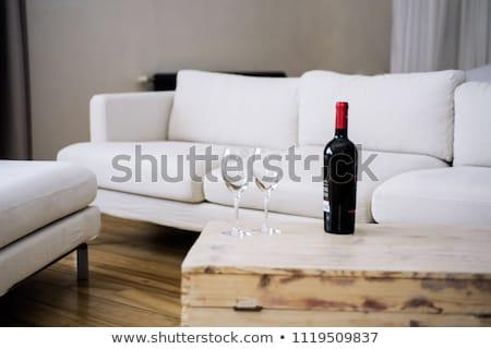 gyönyörű · fiatal · nő · iszik · vörösbor · otthon · közelkép - stock fotó © dash