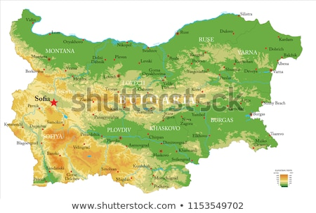 Kaart Bulgarije groene Blauw vector geïsoleerd Stockfoto © rbiedermann