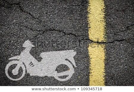 Motorkerékpár sáv felirat égbolt háttér kék Stock fotó © nito
