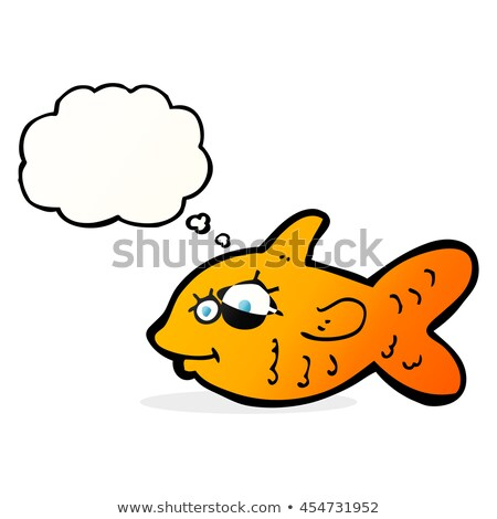 Cartoon gelukkig goudvis gedachte bel hand gezicht Stockfoto © lineartestpilot