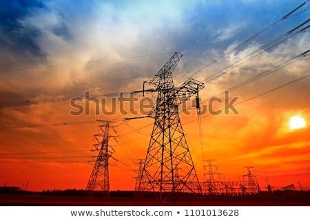 Coucher du soleil mur technologie métal réseau câble Photo stock © chris2766