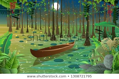болото · 19 · дерево · пейзаж · горные · зеленый - Сток-фото © badmanproduction