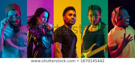 ミュージシャン シルエット セクシー 孤立した 白 女性 ストックフォト © Bigalbaloo