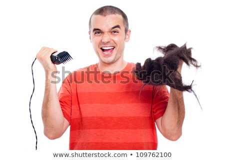 Funny man cutting his hair Stock photo © deandrobot