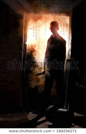 Kapualj gyilkos árnyék padló férfi fény Stock fotó © Bigalbaloo