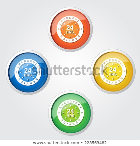 24 Hours Emergency Service Yellow Vector Icon Design stock photo © rizwanali3d