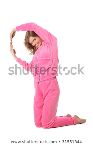 Stock photo: Girl in pink clothes represents  letter q