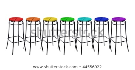 many bar chairs in colors of rainbow, collage stock photo © Paha_L