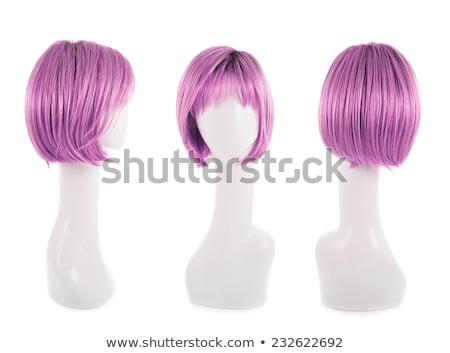 Kobieta kolorowy peruka odizolowany biały włosy Zdjęcia stock © Elnur