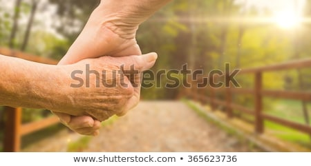 Imagen ancianos Pareja tomados de las manos puente Foto stock © wavebreak_media
