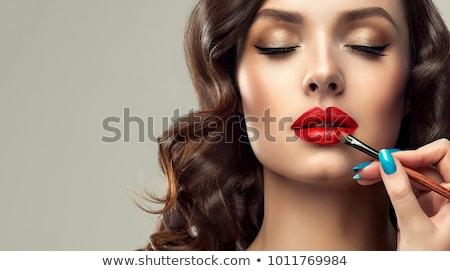 Foto stock: Lápiz · labial · rojo · labios · mujer · primer · plano