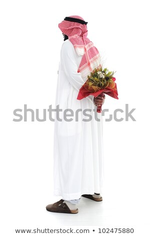 Middle eastern man hides behind a roses for his wife Stock photo © zurijeta