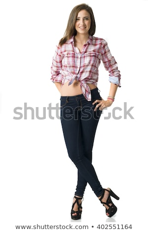 full body portrait of a young beautifull short haired woman Stock photo © Studiotrebuchet
