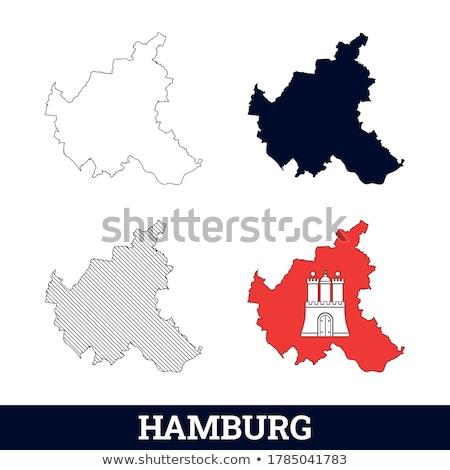 Kaart hamburg vector Duitsland geïsoleerd grijs Stockfoto © rbiedermann
