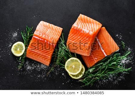 生 · 鮭 · ステーキ · 新鮮な · 魚 · 海塩 - ストックフォト © zhekos