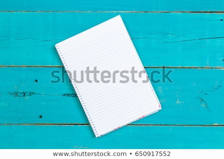 Top down view of blank books on blue table Stock photo © ozgur