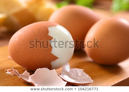 Soyulmuş yumurta Metal çanak grup Stok fotoğraf © Digifoodstock