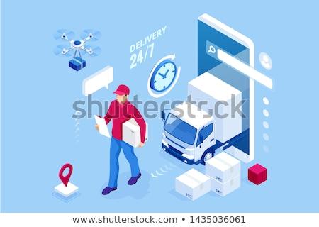 Logistyka kierownik ikona samochodu zegar Zdjęcia stock © Genestro