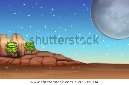 A desert under the bright full moon and sparkling stars Stock photo © bluering