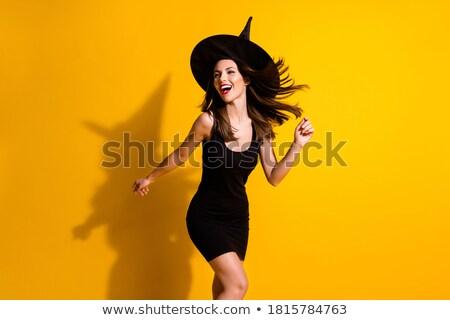 Retrato menina preto mini vestir boné Foto stock © filipw