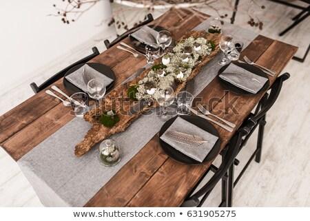 Stockfoto: Ontbijt · rustiek · elegante · stijl · hot · dranken