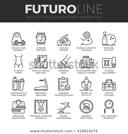 Stockfoto: Dun · lijn · fitness · wellness · iconen · moderne